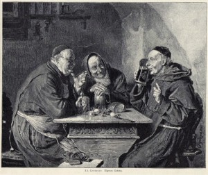 ART-Antique-woodcut-print-own-brew-beer-drinking-monks-Edward-Von-Grutzner-18981-630x530