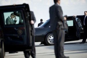 Members of the Secret Service wait after